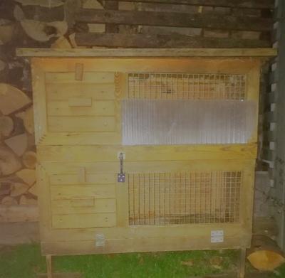 Kaninchen Meerschweinchen Doppel Außenstall Massiv Holz 2 Etagen u. a. Kleintier Zubehör