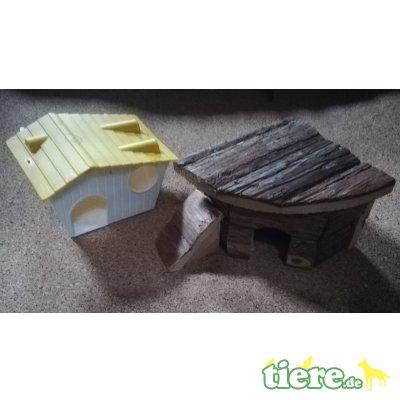 Neu! 2 Mäuse Hamster Kleintier Zubehör Haus Häuschen Natur Borken Holz + Kunststoff Versand